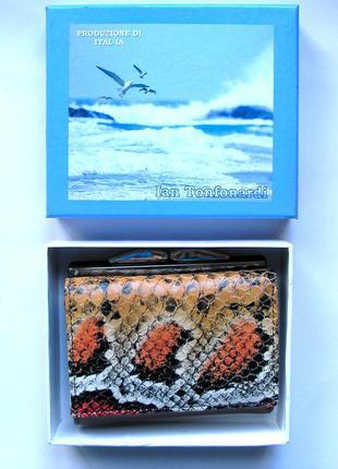 Кожаный кошелек портмоне питон, 100% натуральная кожа