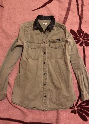 Джинсовая рубашка хаки river island