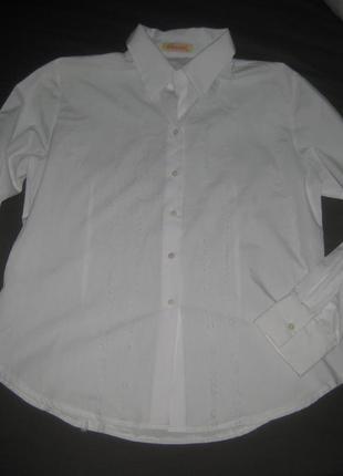 Белая рубашка с перфорацией, хлопок,  хл-ххл