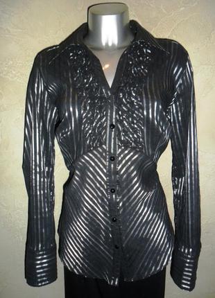 Нарядная стрейчевая черная серебристая в полоску рубашка блузка c&a 3xl 18 батал