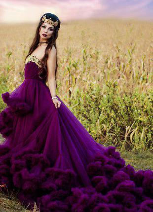 Платье облако с длинным шлейфом для фотосессии/на выпускной