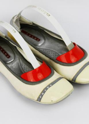 Оригинальные кожаные мягкие балетки с ортопедической стелькой prada 37 размер (23 см)