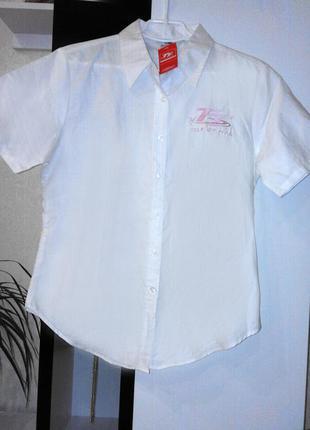 Простая белая рубашка с коротким рукавом 70% хлопок.