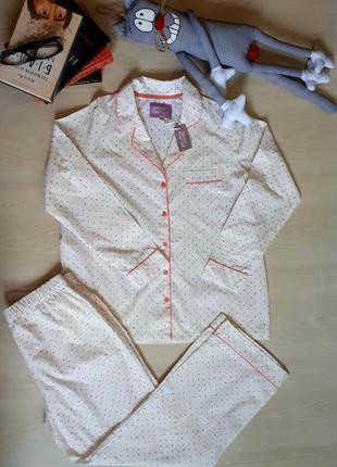 Новая с биркой котоновая пижама,комплект для сна в мелкий горох bhs размер m/l