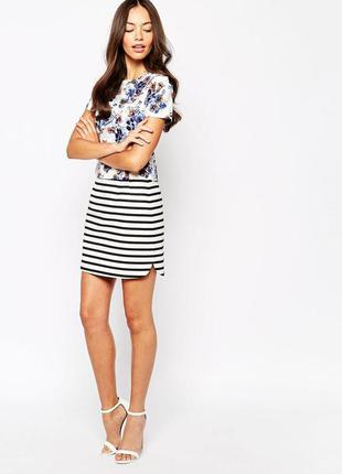 New look мини юбка в полоску, s-м