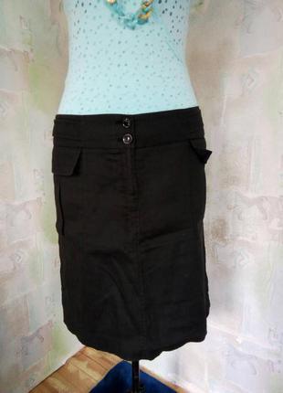 Черная интересная юбка с карманами 100% лен, миди.