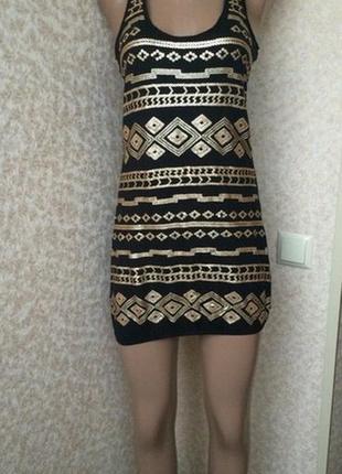 Туника короткое платье орнамент паетки