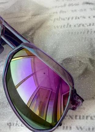 Зеркальные солнцезащитные очки хамелеоны типа многоугольные авиаторы фиолетовые