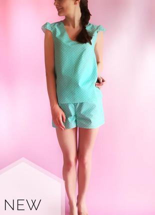 Женская пижама (домашний костюм) мятного цвета в горошек