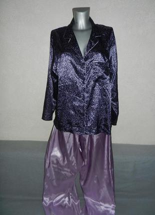 50/xl*bhs*англия!роскошная сиреневая атласная пижама новая