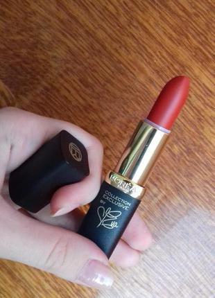 Бархатная матовая помада лореаль классическая красная loreal pure red