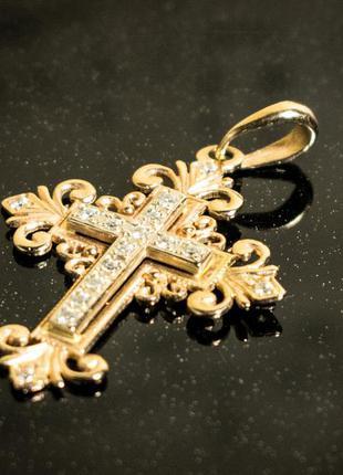 Золотой крестик хрестик золото 585
