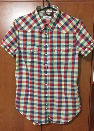 Рубашка в клеточку wrangler короткий рукав,женская,р l