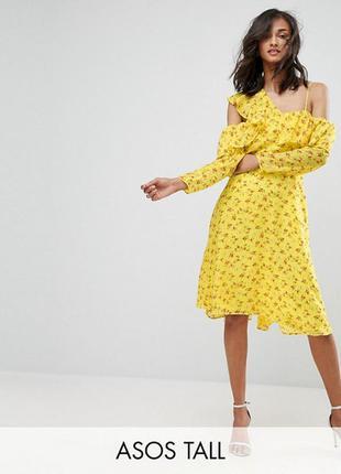 Желтое шифоновое платье с длинным рукавом asos,р-р 12