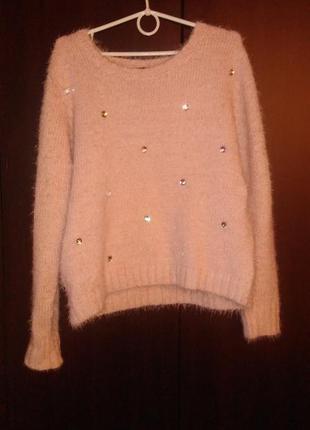 """Пудровый, """"пыльной розы"""", нюдовый свитерок большой размер"""