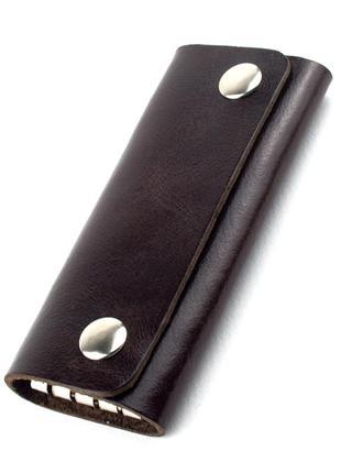 Ключница на кнопках кожаная f-04 (темно-коричневая)