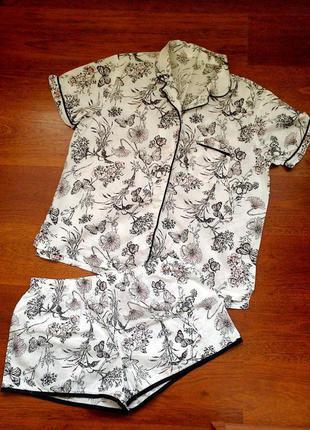 40-42р. белая пижама с шортами в бабочках, хлопок