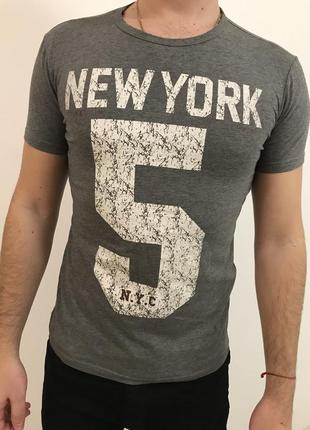 Мужская серая футболка new york 5