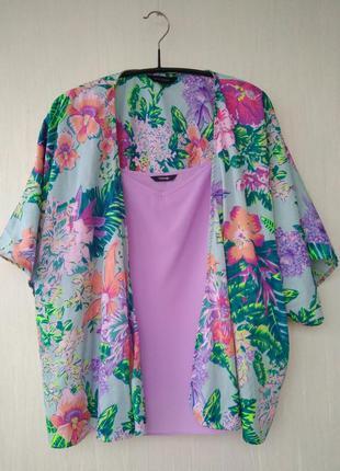 Кимоно стильный шелковый кардиган принт цветы свободный крой