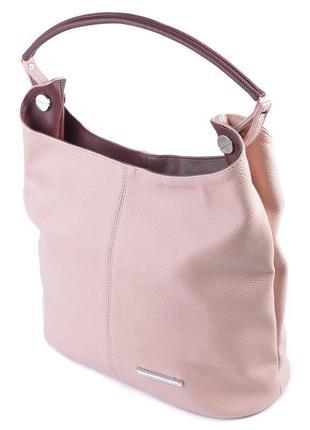 Летняя сумка шоппер на плечо розовая пудра с бордовыми вставками