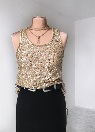 Золота сексі блуза майка блузка в паєтки вечірня s с