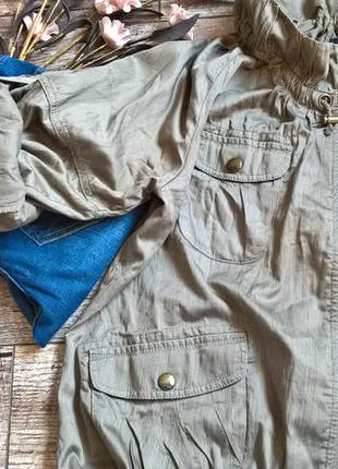 Объемная куртка-ветровка от next,цвет хаки/с затяжками-xl-48р2 фото