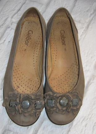 Кожаные стильные туфли-балетки gabor (германия), размер 38 (25 см)
