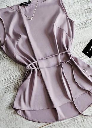 Базовый шелковый атласный топ майка блуза с пояском бельевой стиль лиловый сиреневый