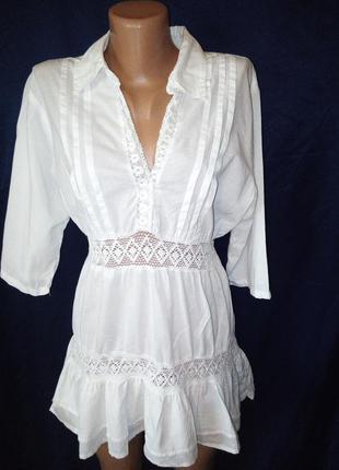 Коттоновая натуральная блуза туника