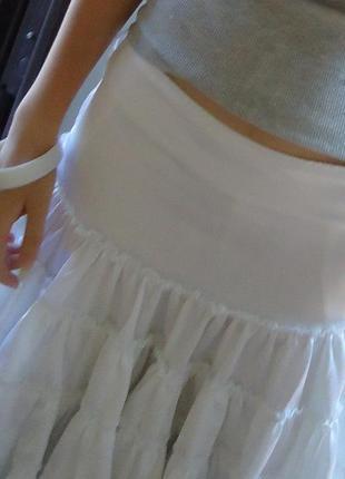 Белая атласная юбка-солнце с оборками (инд. пошив)