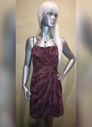Бирка коктельное нарядное выпускное со змеиным прином платье rinascimento m-l
