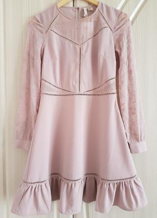 Красивое вечернее, коктейльное платье от h&m с вышивкой и воланами.