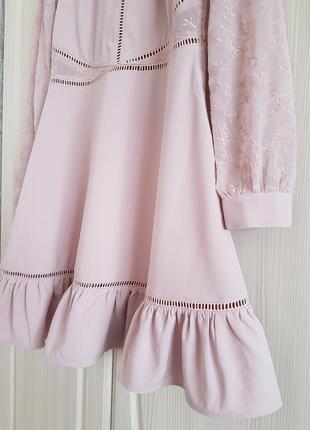 Красивое вечернее, коктейльное платье от h&m с вышивкой и воланами.3