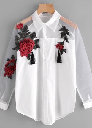 Блуза вышивка роза органза фатин сетка