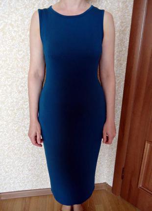Платье boohoo, миди, темно-лазурного цвета