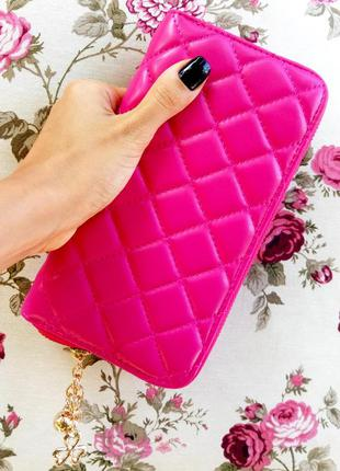 Стёганый розовый кошелёк эко кожа