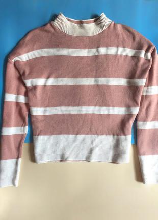 Нежный розовый персиковый джемпер свитер в полоску от atmosphere