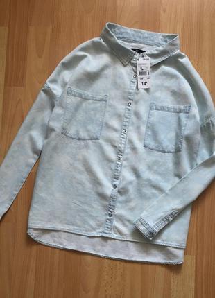 Доступно - актуальная рубашка из светлого денима *kiabi* р. s (16 лет)