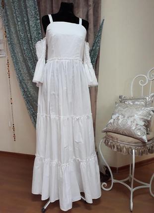 Белое платье миди, сарафан в пол с воланами, l-xl