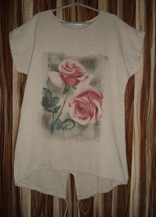 Удлиненная туника-футболка ,100 % лен ,полу-батал универсал