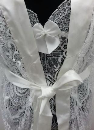 Reve blanc livia corsetti белый комплект халат с пеньюаром