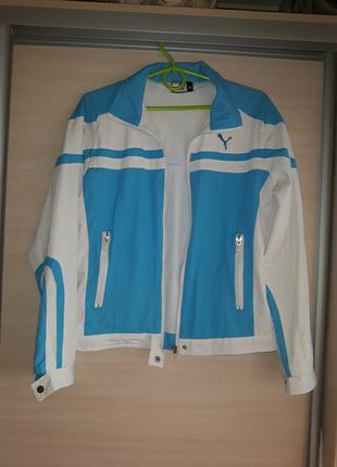 Спортивная куртка белая с голубым puma