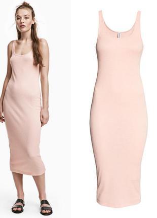 Облегающее платье миди h&m s,платье в рубчик миди длинна