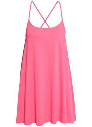 Короткое трикотажное платье ярко розового цвета,короткое летнее яркое платье