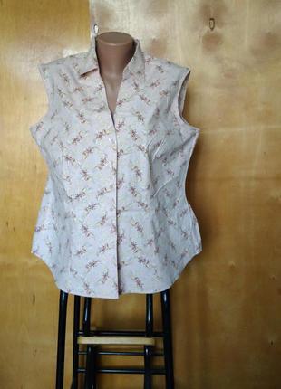 Стильная легкая стрейч-коттоновая блуза нюдового цвета батал на пуговицах р. 20 56-58