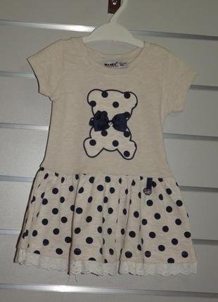 Милое, трикотажное платье  для девочки wanex 80, 86, 92, 98, 104, 110см