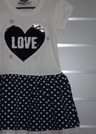 Трикотажное платье для девочки, пайетки-перевертыши, wanex  92, 98, 104, 110, 116, 122см2