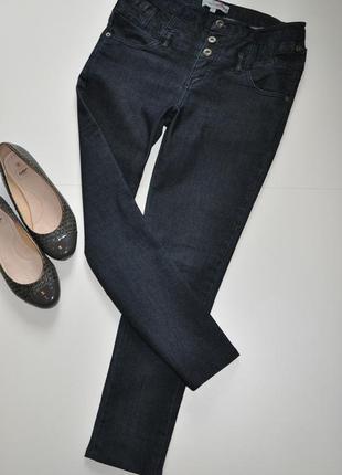 Темно синие джинсы скинни с высокой посадкой international