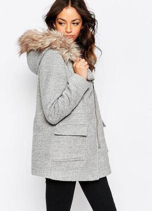 Серое пальто new look