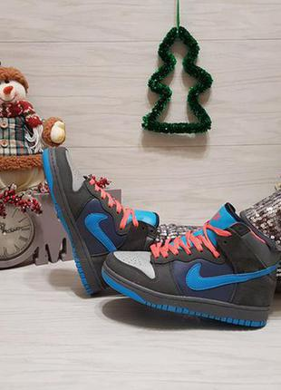 Спортивные кеды кроссовки высокие серые с голубым последний 37р супер цена